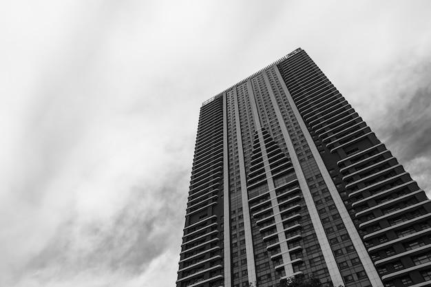 Schwarz-weiße wolkenkratzer in der großstadt