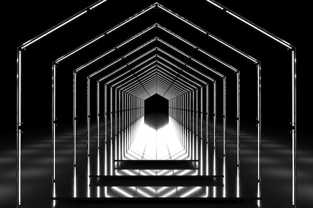 Schwarz-weißer sechseckiger tunnel glänzendes podium. abstrakter hintergrund. lichtreflexionsstufe. geometrische neonlichter. 3d-illustration