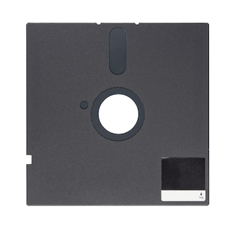 Schwarze 5,25-zoll-diskette oder diskette isoliert auf weißem hintergrund