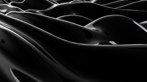 Schwarze abstrakte flüssige reflektierende wellenoberfläche. wellen und wellen ultravioletter linien. 3d-illustration