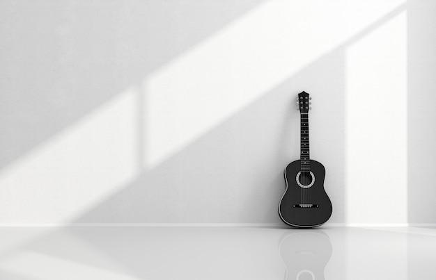 Schwarze akustikgitarre in einem weißen raum