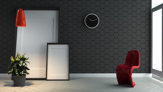Schwarze backsteinmauer des modernen raumes auf weiß des bodens 3d wiedergabe