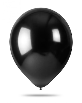 Schwarze ballone getrennt auf weißem hintergrund. partydekorationen.