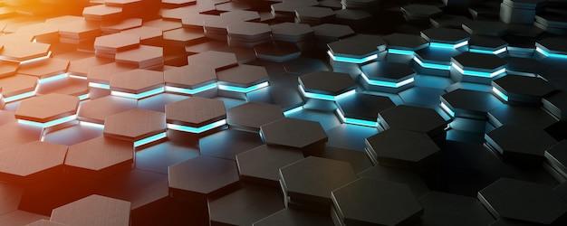 Schwarze blaue und orange wiedergabe des hexagonhintergrund-musters 3d
