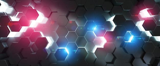 Schwarze blaue und rosa wiedergabe des hexagonhintergrund-musters 3d