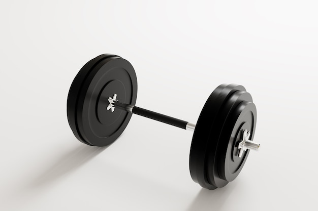 Schwarze dembbell auf weißem hintergrund, krafttraining und muskelaufbaugeräte, 3d-darstellung