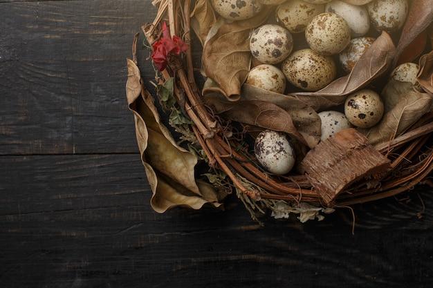 Schwarze eier in einem nest von trockenen niederlassungen auf einem schwarzen brett. ostern stil.