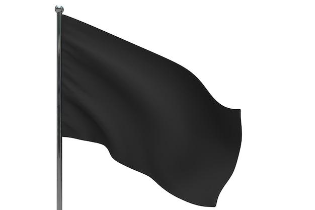 Schwarze flagge an der stange. fahnenmast aus metall. 3d-illustration auf weiß
