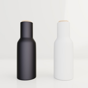 Schwarze flasche für sahneverpackung, lotion auf weißem hintergrund