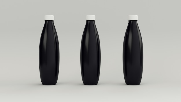 Schwarze flaschen zum hinzufügen eines etiketts.