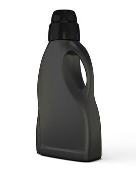 Schwarze flaschenschablone für waschmittel isoliert auf weiß. flaschenschablone für waschmittel. 3d-illustration.