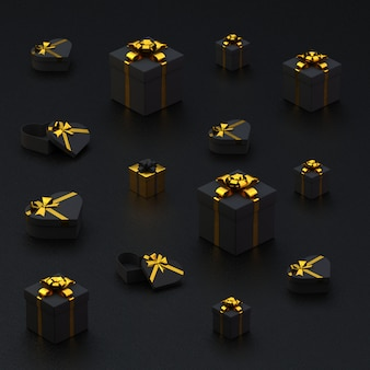 Schwarze geschenkboxen und herzen mit goldband auf schwarzem rough