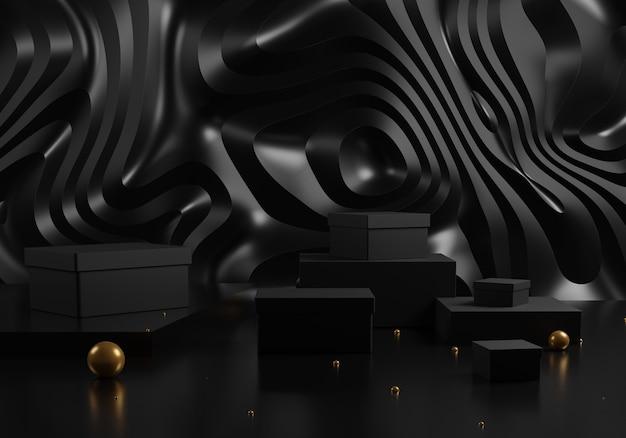 Schwarze geschenkboxen und podium mit goldenen kugeln auf abstraktem schwarzem hintergrund.
