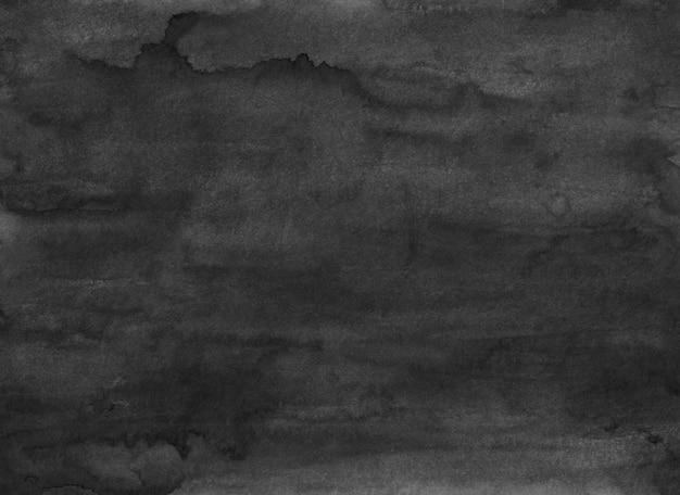 Schwarze hintergrundbeschaffenheit des aquarellgrunge. dunkle monochrome überlagerung. abstrakte alte aquarell moderne malerei. flecken auf papier.