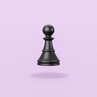 Schwarze hölzerne schachfigur auf lila hintergrund