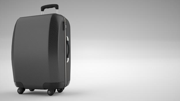 Schwarze kohlefaser-reisetasche isoliert auf hell. 3d-rendering