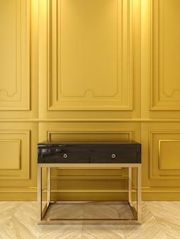 Schwarze konsole mit gold in klassisch gelbem interieur. 3d-renderillustration.