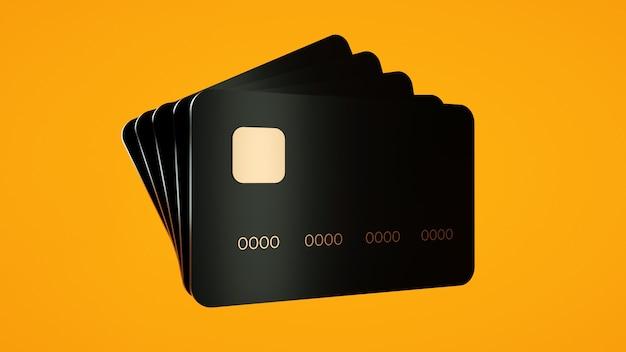 Schwarze kreditkarte auf orangefarbenem hintergrund elektronischer geldtransfer 3d-rendering