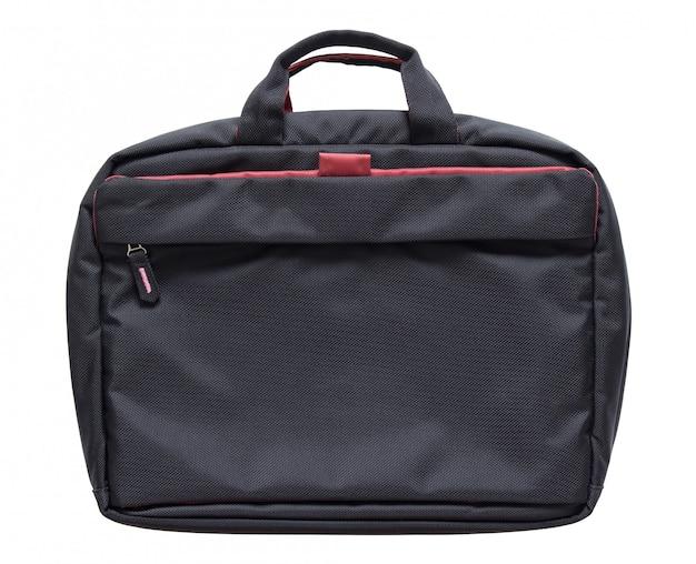 Schwarze laptoptasche getrennt auf weißem hintergrund mit ausschnittspfad
