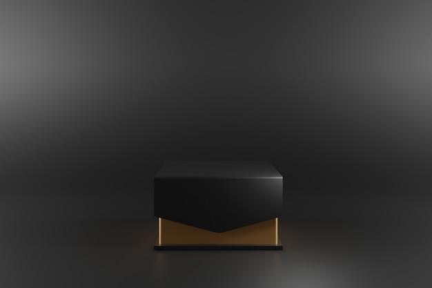 Schwarze luxusgeschenkbox auf schwarzem hintergrund.
