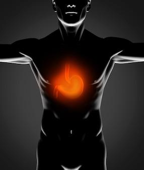 Schwarze menschliche figur mit rotem magen
