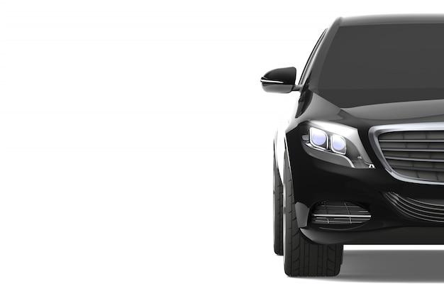 Schwarze moderne autonahaufnahme auf weißem hintergrund
