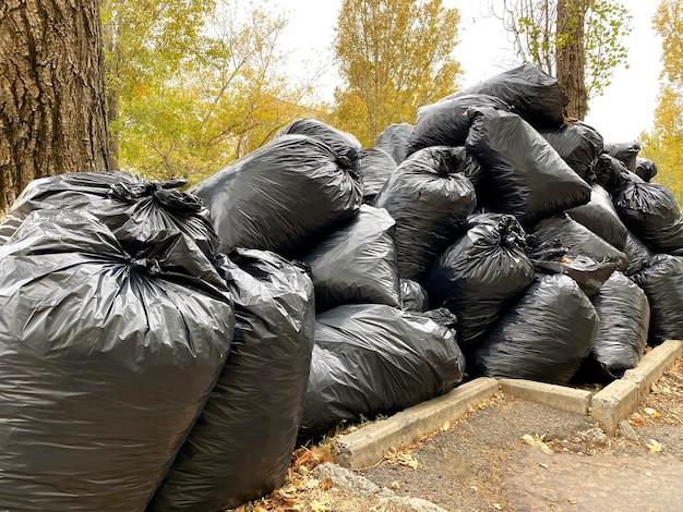 Schwarze müllplastiktüten voller herbstblätter.