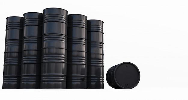 Schwarze ölfässer auf weißem hintergrund. 3d-rendering