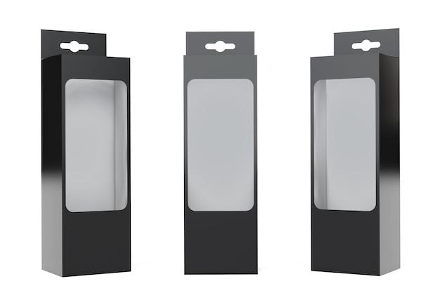 Schwarze produktverpackungsbox mit aufhängeschlitz und transparentem filmfenster auf weißem hintergrund. 3d-rendering.