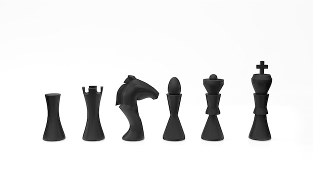 Schwarze schachfiguren auf weißer oberfläche