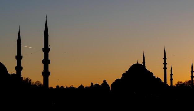 Schwarze schattenbild der stadt mit moscheen bei sonnenuntergang. istanbul stadtbild in der dämmerung.
