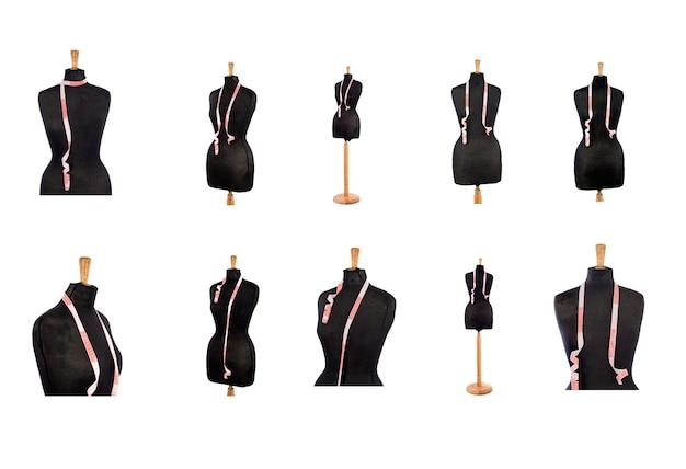 Schwarze schaufensterpuppe mit rotem und weißem maßband in verschiedenen positionen auf weißem hintergrund