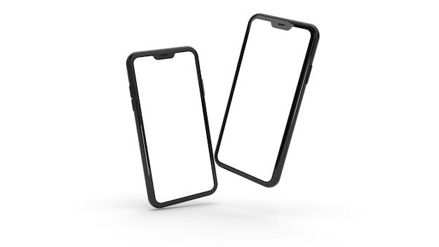 Schwarze smartphones in realistischer 3d-telefonwiedergabe isoliert