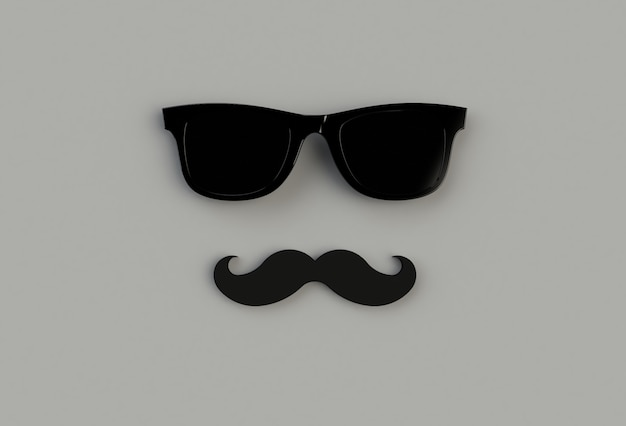 Schwarze sonnenbrille des hippies und lustiger schnurrbart auf grauem backround