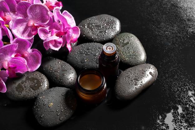 Schwarze steine für die spa-behandlung