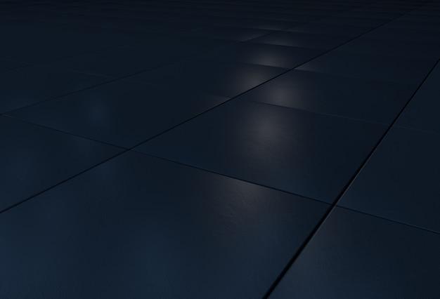 Schwarze steinfliesen auf dem boden und blaue hintergrundbeleuchtung