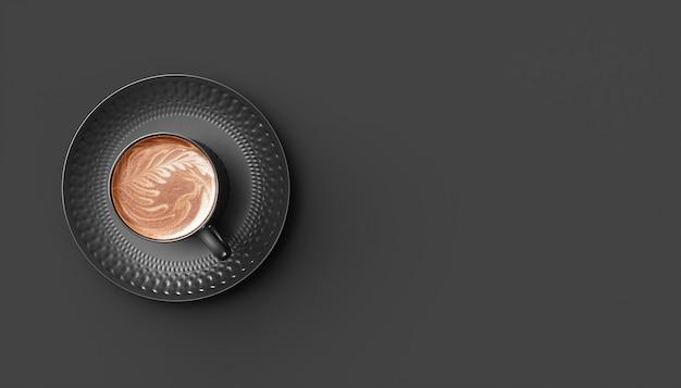 Schwarze tasse kaffee auf einem schwarzen hintergrund, illustration 3d