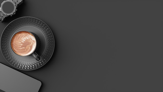Schwarze tasse kaffee neben einem handy und einer armbanduhr auf einem schwarzen hintergrund, 3d illustration