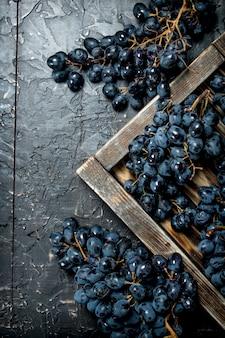 Schwarze trauben auf einem holztablett.