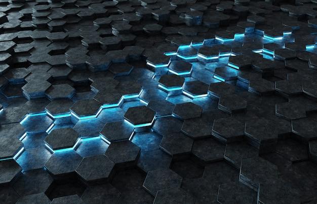 Schwarze und blaue wiedergabe des hexagonmusters 3d