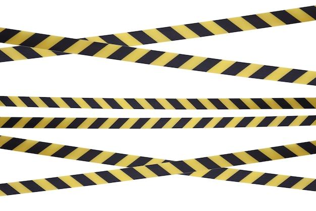 Schwarze und gelbe linien des absperrbandes verhindern den durchgang.
