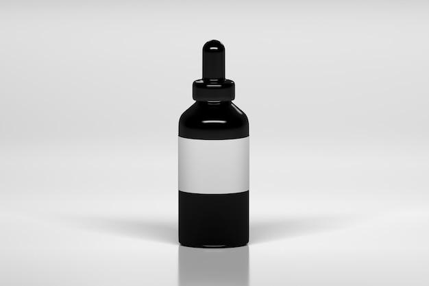 Schwarze vape-flasche mit weißem leerem etikett.