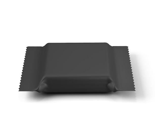 Schwarze verpackung für kekse oder süßigkeiten isoliert auf weiß. 3d-renderillustration.