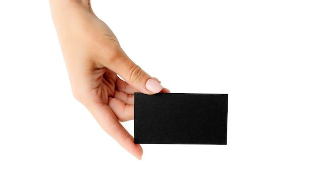 Schwarze visitenkarte in der mädchenhand