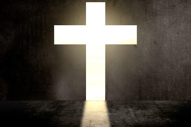 Schwarze wand mit christlicher kreuzform