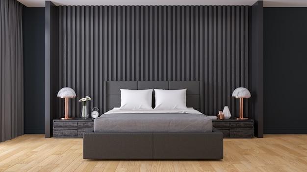 Schwarze wand, moderner schlafzimmerinnenraum