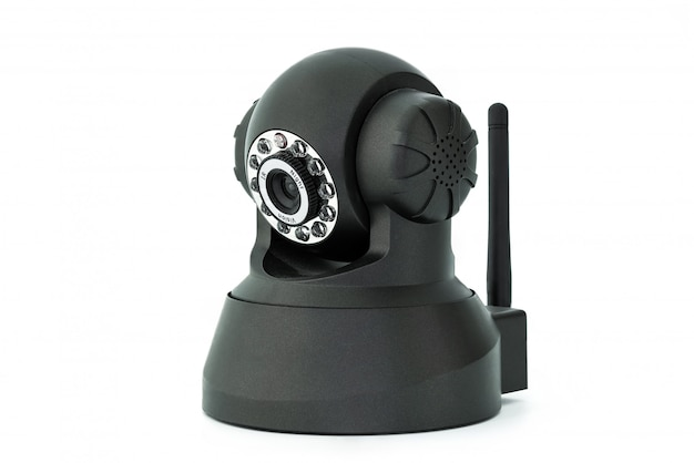 Schwarze webkamera lokalisiert auf weißem hintergrund