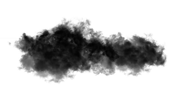 Schwarze wolken oder rauch auf weiß
