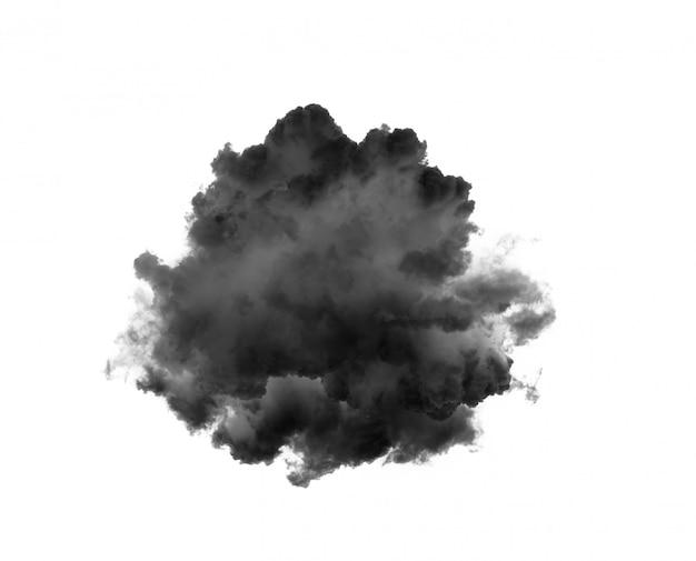 Schwarze wolken oder rauch auf weißer wand