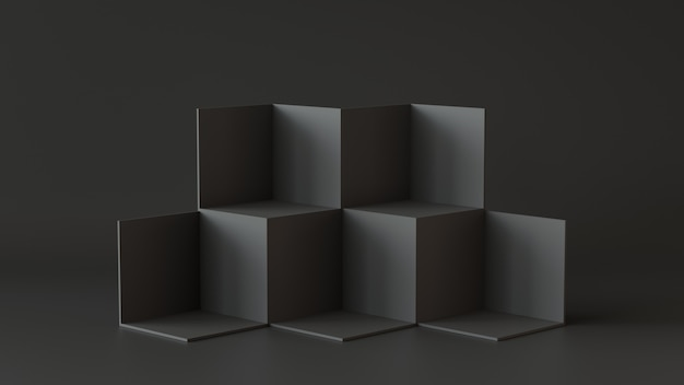 Schwarze würfelkästen mit dunklem wandhintergrund. 3d-rendering.
